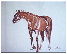Sketch of Triple Crown Winner in 1973 Secretariat